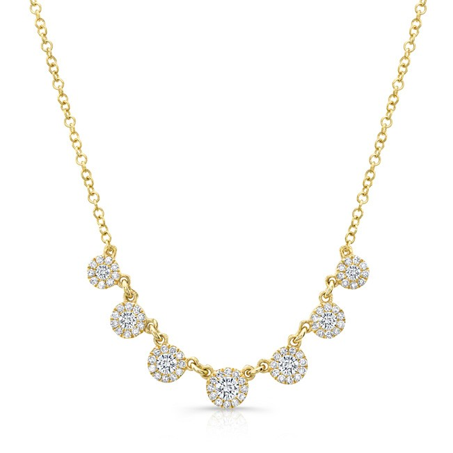 14KT Yellow Gold Tiny Circles Halo Diamond Necklace