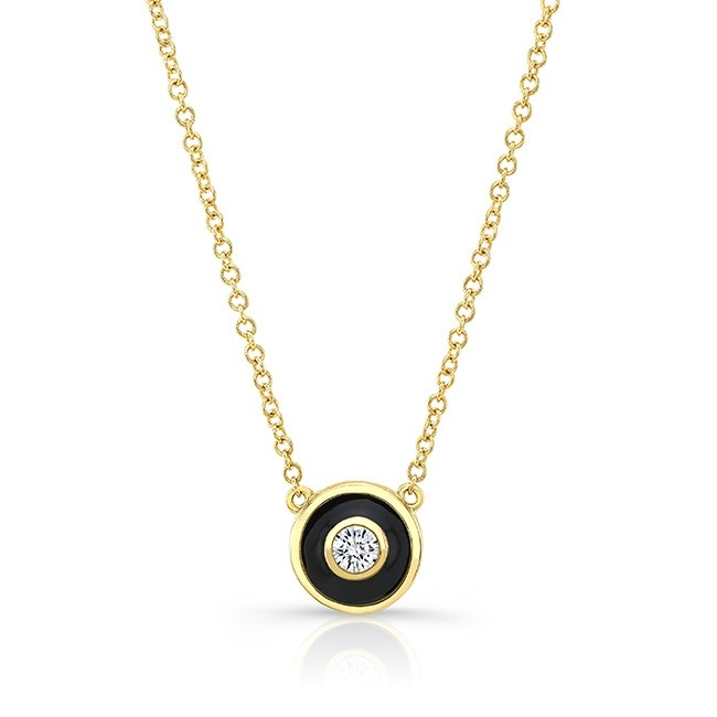 14KT Yellow Gold Circle Black Enamel Diamond Necklace