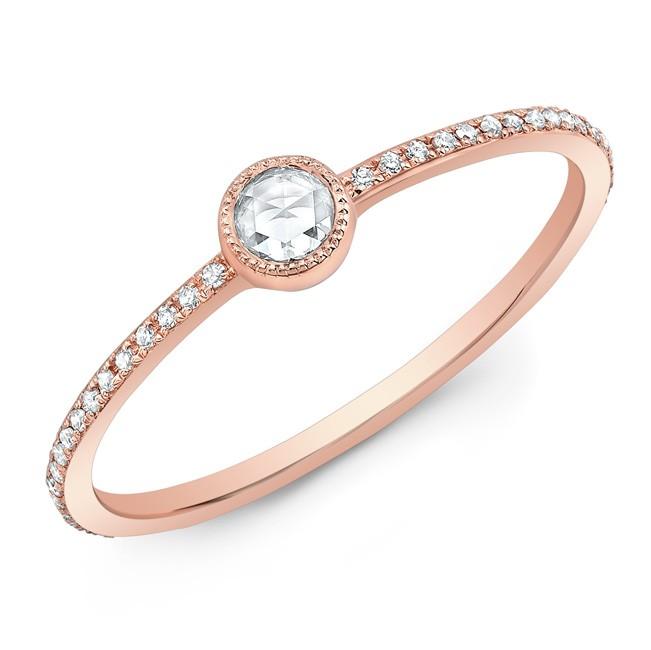 14KT Rose Gold Diamond Bezel Stacking Ring