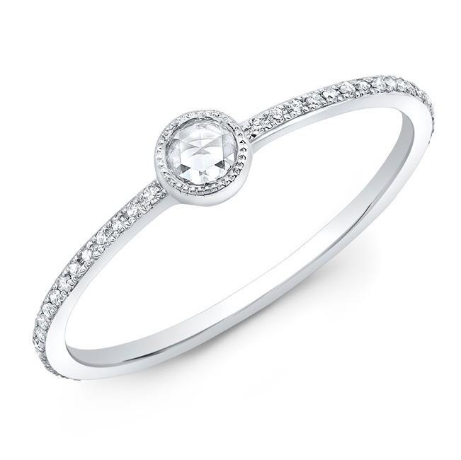 14KT White Gold Diamond Bezel Stacking Ring