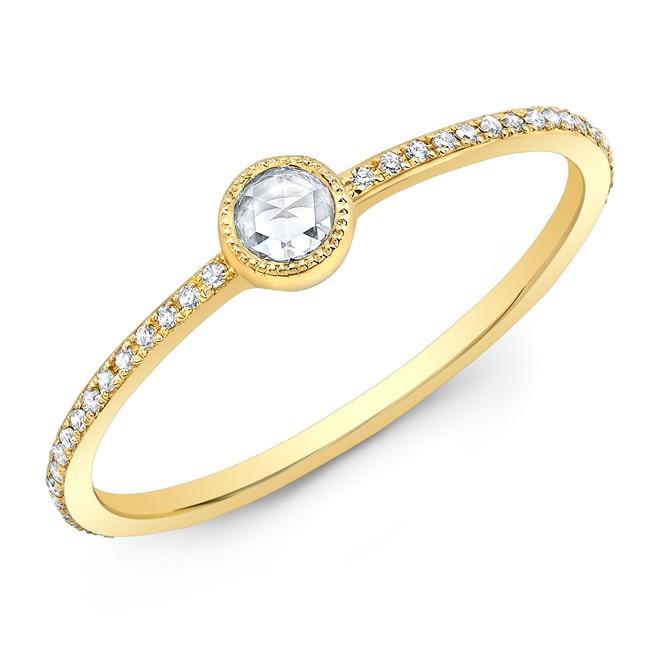 14KT Yellow Gold Diamond Bezel Stacking Ring
