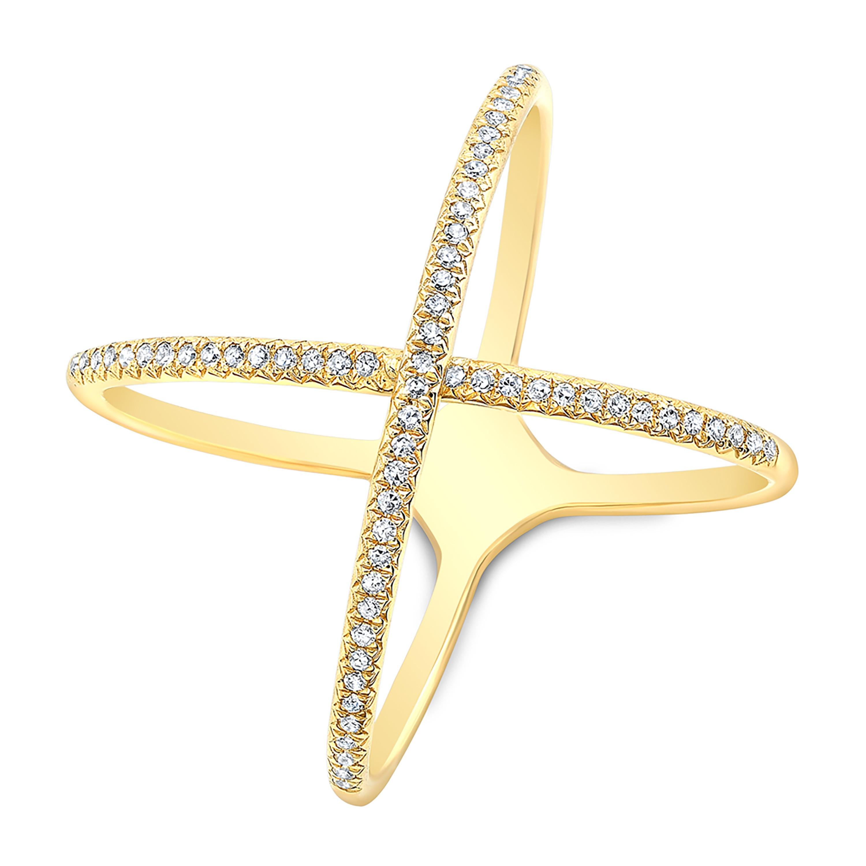 14KT Yellow Gold X Crossover Diamond Ring