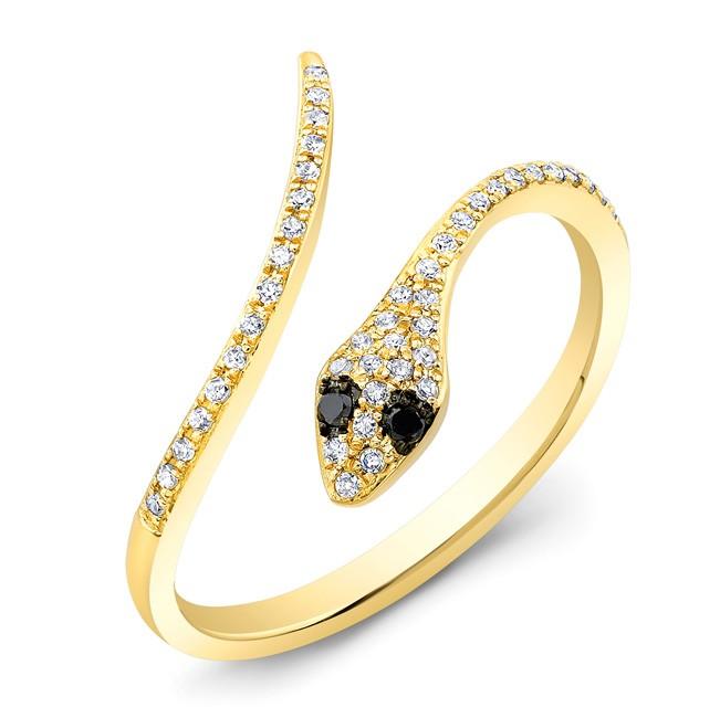 14KT Yellow Gold Diamond Snake Ring