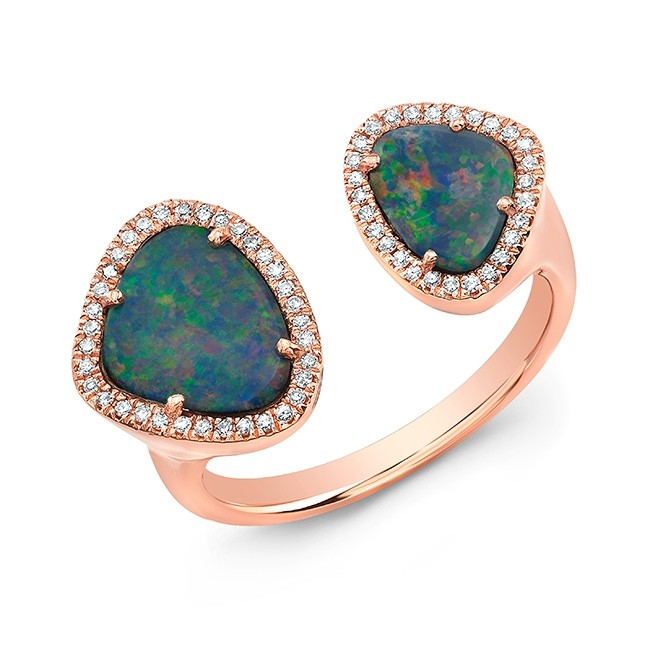 14K Rose Gold Organic Opal and Diamond Open Ring