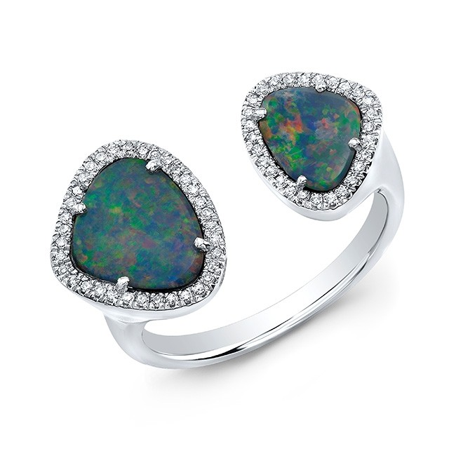 14K White Gold Organic Opal and Diamond Open Ring