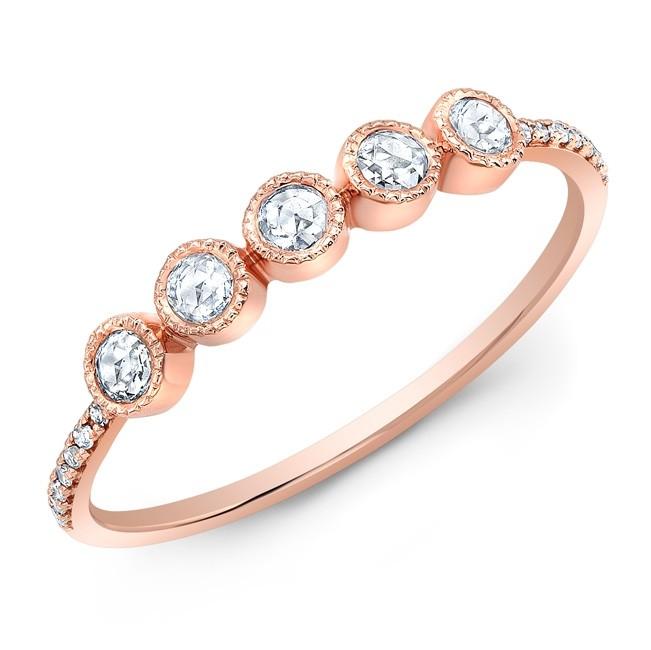 14KT Rose Gold 5 Rose Cut Diamond Bezel Stacking Ring
