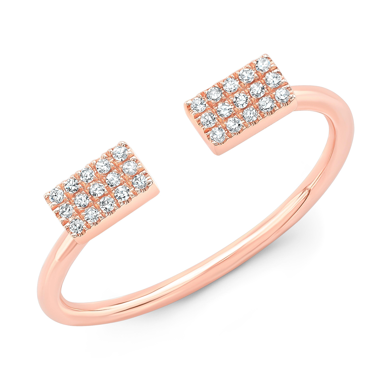 14KT Rose Gold Diamond Double Bar Open Ring