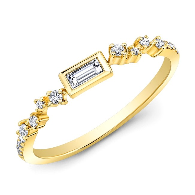 14KT Yellow Gold Baguette and Round Diamond Stacking Ring