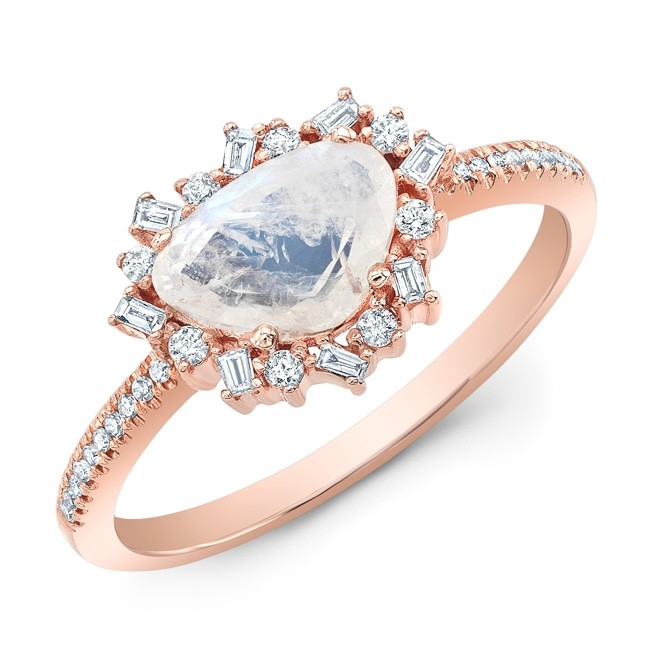 14KT Rose Gold Moonstone and Diamond Ring