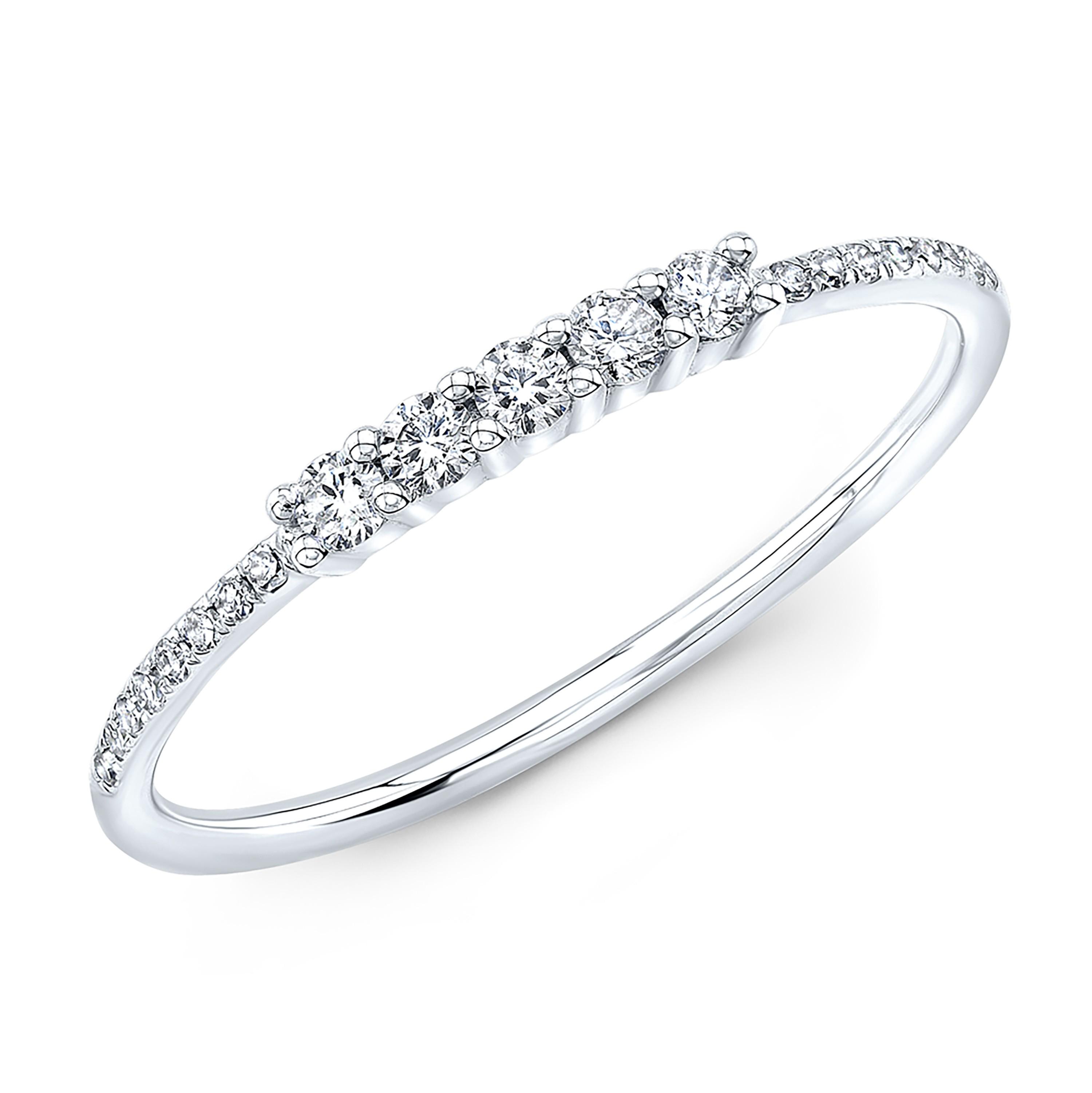 14KT White Gold Diamond Stacking Ring