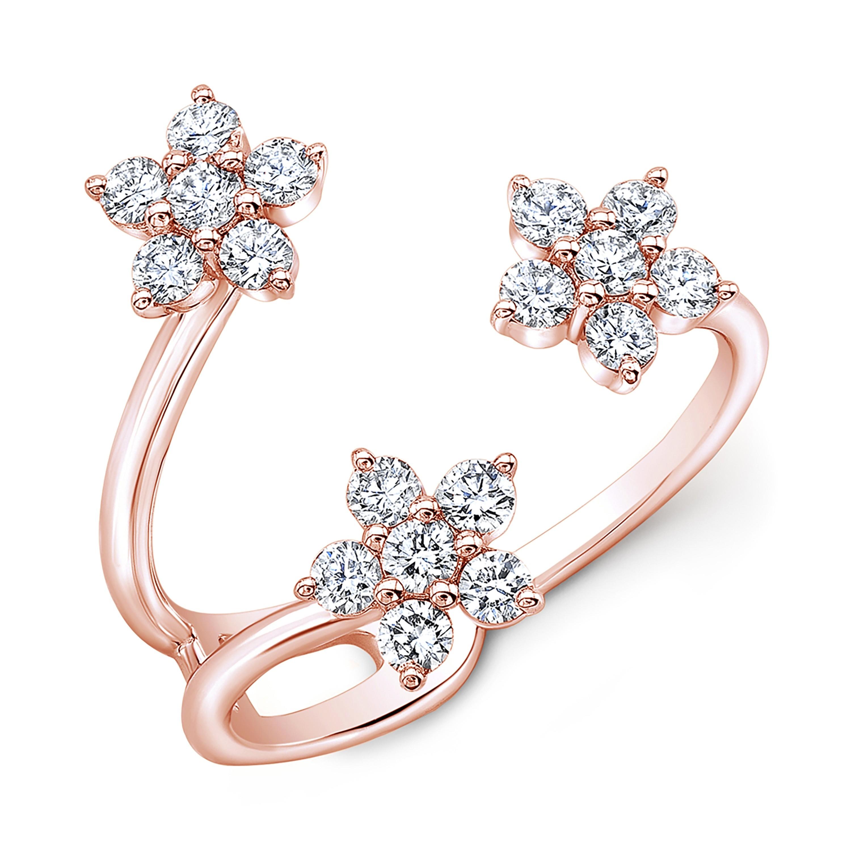 14KT Rose Gold 3 Flowers Diamond Ring