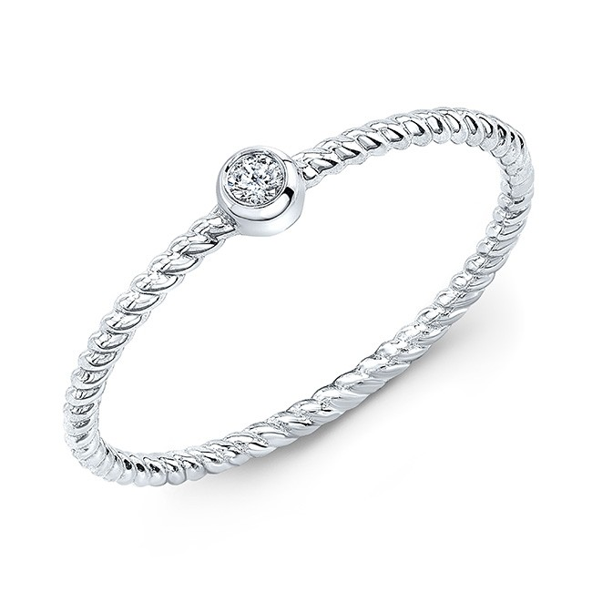 14KT White Gold Diamond Bezel Solitaire Rope Stacking Ring