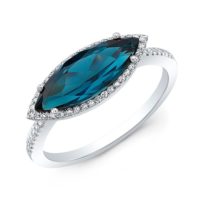 14KT White Gold Blue Topaz with Diamond Halo Ring